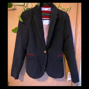 Zara Basics navy cotton blazer with red cord elbow